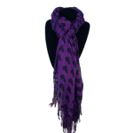 Purple Scarf with Black Hearts